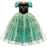 FYMNSI Niña Disfraz de Princesa Anna Vestido Reina de Nieve Disfraces Cosplay de Carnaval Ceremonia Fiesta Infantil Cumpleaño