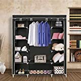 #2: Inditradition 3 Door Collapsible Cloth Wardrobe | Foldable Closet Almirah & Cloth Organizer | 5.75 Feet Height (Black Color)