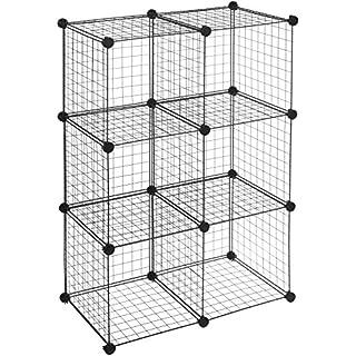 AmazonBasics 6 Cube Wire Storage Shelves - Black