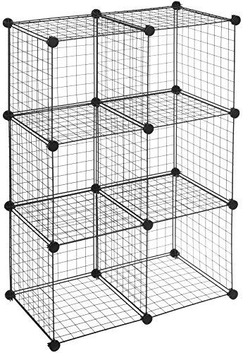 AmazonBasics - 6 Regalwürfel, Drahtregal, Schwarz - - Regale