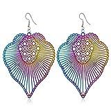 Prosperveil gioielli moda donna Hollow Out foglie colorate orecchini di metallo ciondolo