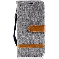 Tophung Funda para Samsung Galaxy J6 2018, a prueba de golpes, de piel sintética, con función atril, tarjetero y ranura para identificación, con tapa protectora para Samsung Galaxy J6, gris