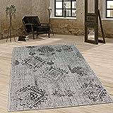 Paco Home In- & Outdoor Teppich Vintage Design Rautenmuster Flachgewebt In Grau, Grösse:80x200 cm
