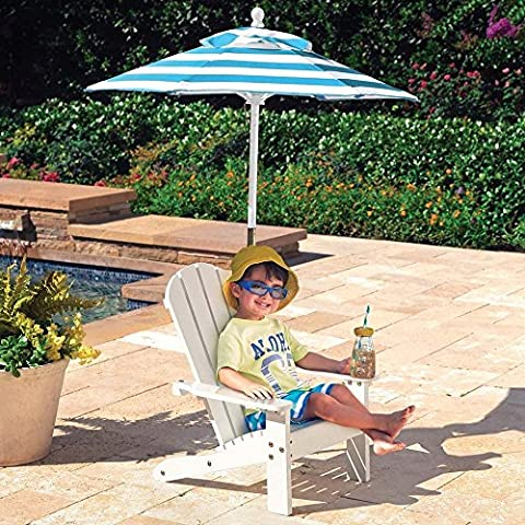 KidKraft Wood Plank Construction Outdoor Adirondack Chair with Mini Parasol for Children 3+ Years, White and
