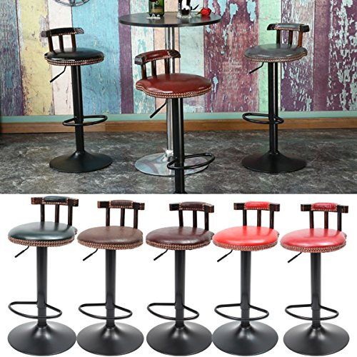 Caveen Bar Stools Metal Kitchen Stool Dining Stool Round Retro Vintage Industrial Style Adjustable Height Chair Multicolor