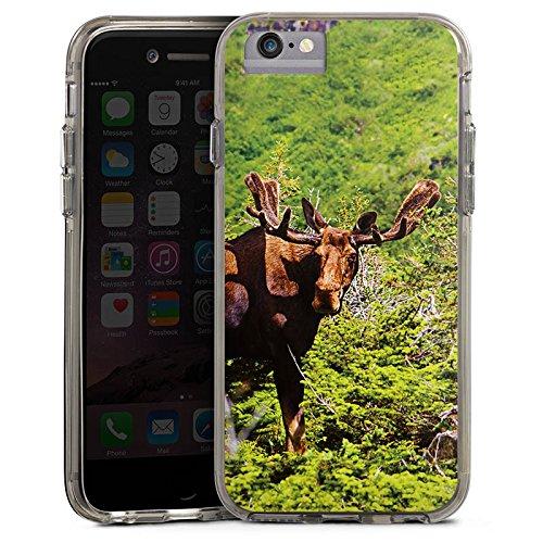 Apple iPhone X Bumper Hülle Bumper Case Glitzer Hülle Elch Rentier Reindeer Bumper Case transparent grau