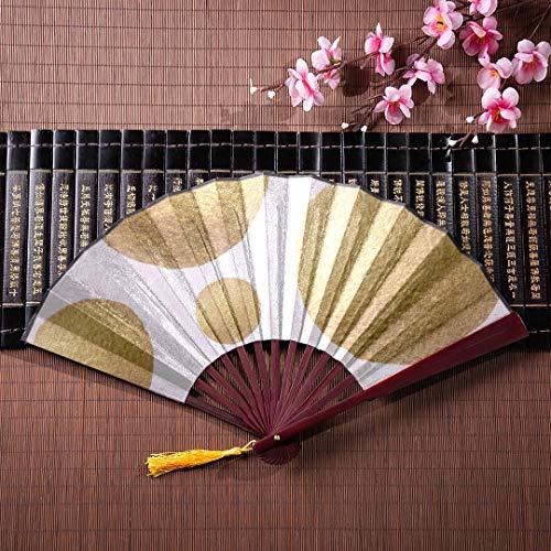 Abanico chino de baile Elegante y divertido Lunares dorados con marco de...