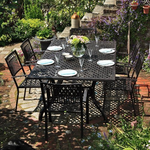 Sophia 200 x 120cm Rechtickiges Gartenmöbelset - 1 SOPHIA Tisch + 6 ROSE Stühle