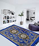 "Home Elite Traditional Abstract Polyester Carpet - 55""x80"", Blue"