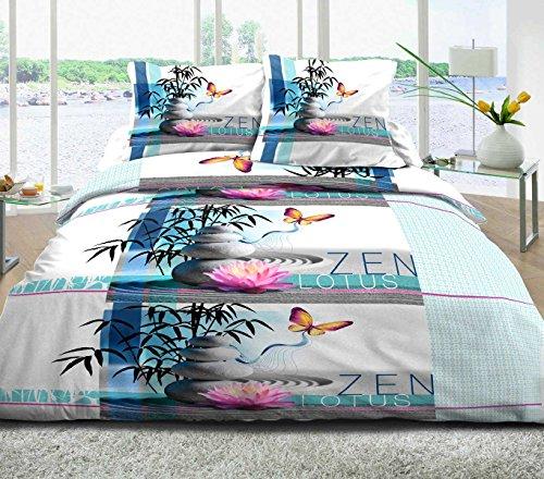 Parure Drap plat + drap-housse 140x190 + 2 T - Pur coton 57 fils - Zen lotus bleu