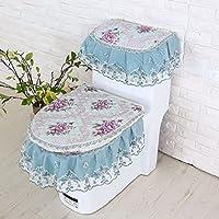MEI Alfombra de baño Alfombra antideslizante Cubierta de polvo de tres piezas de baño Tela de asiento de inodoro de tres piezas Asiento de inodoro a prueba de polvo ( Color : C )