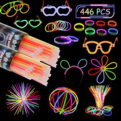 QFUN Knicklichter Leuchtstäbe, Knicklichter 200 Stück Armbänder Hochzeit Ketten Glowstick Partylichter Stirnband Festival Ausrüstung Leuchtbrillen für Geburtstag, Halloween, Weihnachten usw