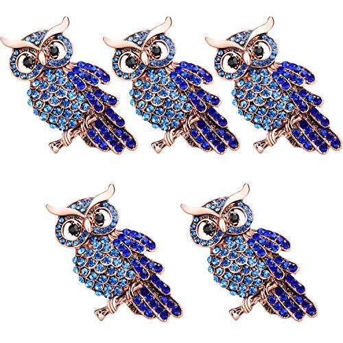 TsunNee Owl Crystal Broschen Pins, Hochzeit Prom Party Kleidung Brosche, Strass Schal Pin, Kostüm Abzeichen, 5 Stück