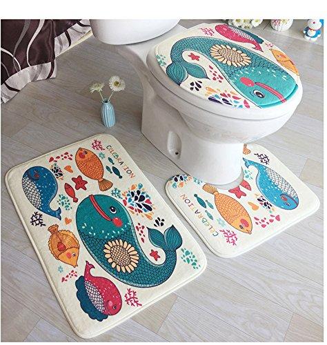 Cystyle 3 Stück Toiletten-Abdeckung Set Bad WC Set Sitzbezug (Bad Teppich + Pedestal Teppich + Toilettensitzabdeckung), eine Vielzahl von Mustern optional (Stil 3)