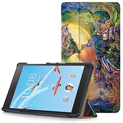 Lenovo Tab 7 Essential Hülle - Ultra Dünn und Leicht PU Leder Schutzhülle mit Standfunktion für Lenovo Tab 7 Essential 17,78 cm (7 Zoll) Tablet-PC, Calypso (Nicht für Lenovo Tab3 7 Essential)