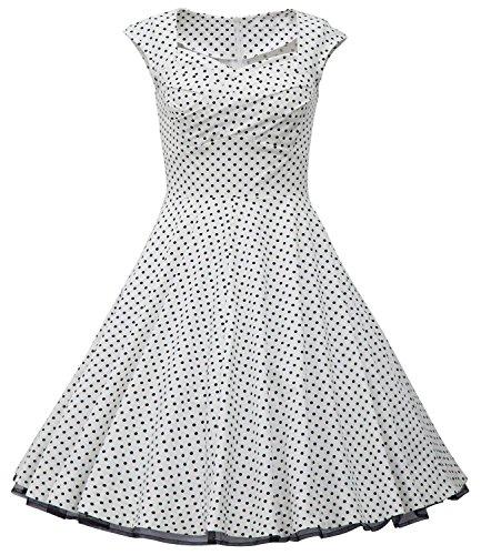 U-shot - Robe - Manches Courtes - Femme S/34, M/36, L/38, XL/40, XXL/42, XXXL/44 White Dot