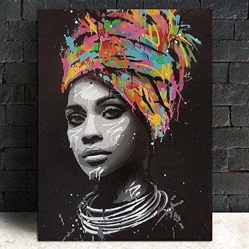 Abstrakte Afrikanische Mädchen Mit Buchstaben Wand Kunst Leinwand Moderne Pop Wand Graffiti Kunst Gemälde Schwarze Frau Cuadros Bild Home Decor (Afrikanische Wand-spiegel)
