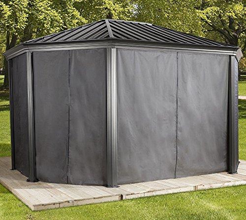 Sojag Aluminium Pavillon Komodo 12x18 Vorhänge Seitenteile Dunkelgrau / passend für Gartenlaube Komodo