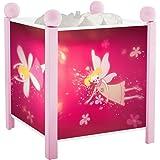 Trousselier - Elfen prinses - nachtlampje - magische lantaarn - ideaal geboortegeschenk - kleur hout roze - geanimeerde afbee