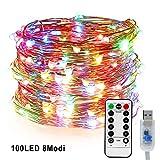 LED Kupferdraht Lichterkette, Nasharia 100LEDs Lichterkette im 10M USB-Anschluss mit Fernbedienung 8 Programm LED-Lichter für Party, Weihnachten, Halloween, Hochzeit, Hochzeit, Party (Mehrfarbig)