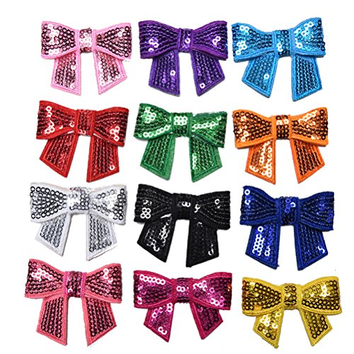 s Bag Diy Clothing Hair Shiny Sequin Bow Knot Applique Pathches Girl Without Clip And - Applique Sequin Accessories Clothing Girl ()