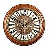 Dongy Orologio da Parete Vintage Creativo Silenzioso, Non ticchettante, Numeri Arabi, Orologi da Parete Rotondi - 20 Pollici (Colore : Brown)
