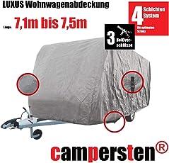 campersten Wohnwagen-Abdeckung | Schutzhülle | Wohnwagen-Abdeckplane | 4-Schichten-Gewebe (3XL: 7,1m bis 7,5m)