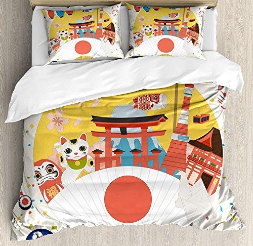 Laterne 3-teiliges Bettwäsche-Set Bettbezug-Set, japanisch inspiriertes Handelsmuster Verschiedene asiatische Kulturartikel Cooles Katzen-Origami, 3-tlg. Tröster- / Qulitbezug-Set mit 2 Kissenbezügen, -