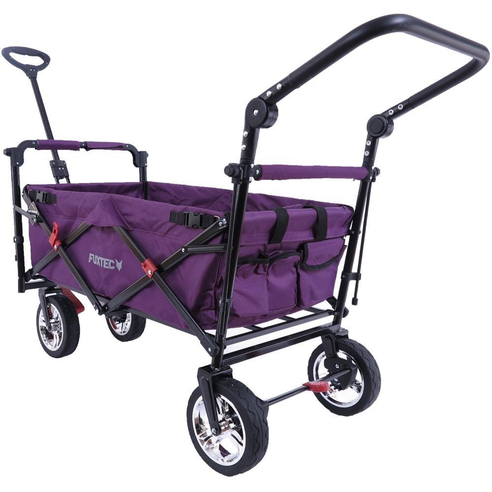 Fuxtec Faltbarer Bollerwagen FX-CT700 Purpur klappbar mit Dach, Vorder- und Hinterrad-Bremse, Vollgummi-Reifen, Schubbügel, für Kinder geeignet – Das Original !