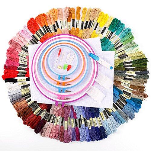 100Garnknäuel Rainbow Farbe Stickerei Nähgarn Kreuzstich Floss mit 50Floss Spulen, 5Stickerei Ringe, 10Nadeln, 2weiß Stoff, ect.