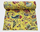 NANDNANDINI TEXTILE indische Handarbeit Steppdecke Bohemian Hippie Baumwolle Kantha wendbar Designer Bettlaken Boho Gypsy Kantha Tagesdecke Sofa Couch Überwurf Decke Schmusetuch Set Kantha Bezug