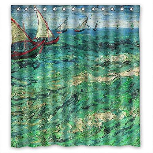 comeciti Breite x Höhe/182,9x 182,9cm/W H 180von 180cm Polyester Art Gemälde Vincent Willem van Gogh Vorhänge Sailing Boats Badezimmer Stoff ist Fit für Jungen Kids Jungen Jungen Valentin - Für Badezimmer-sets Kid Jungen