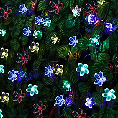 Light-up Solar Flower String Lights Outdoor Fairy 7M 50 Led Blossom Lighting for Garden,Patio,Path,Christmas,Indoor,Party