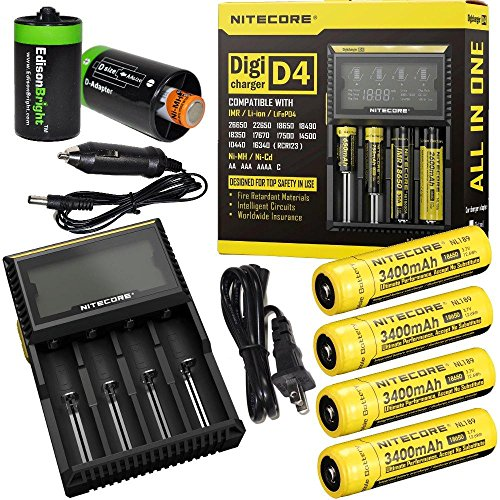 Nitecore D4 Digicharge Universal Home/in-car Battery Charger, Four Nitecore 18650 NL189 3400mAH Rechargeable Batteries with 2 X EdisonBright AA to D Type Battery Spacer/converters