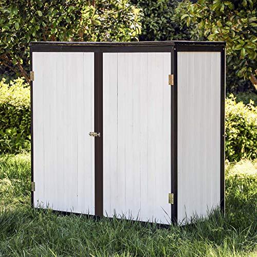 Wiltec Gartenschrank Holz Weiß Anthrazit 2 Türen 136x58x127cm Werkzeugschrank Garten