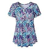 VJGOAL Damen T-Shirt, Damen Mode Scoop Neck Plissee Große Code Kurzarm Sommer Bluse Top Tunika T-Shirt (L/42, Mehrfarbig-Blau)