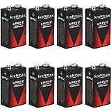 8x Kraftmax Lithium 9V Block Hochleistungs- Batterien für Rauchmelder / Feuermelder - 10 Jahre Batterie Lebensdauer