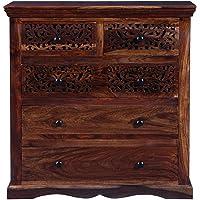 Vishwakarma Antique Sheesham Solid Wood Chest of Drawers in Provincial Teak Finish