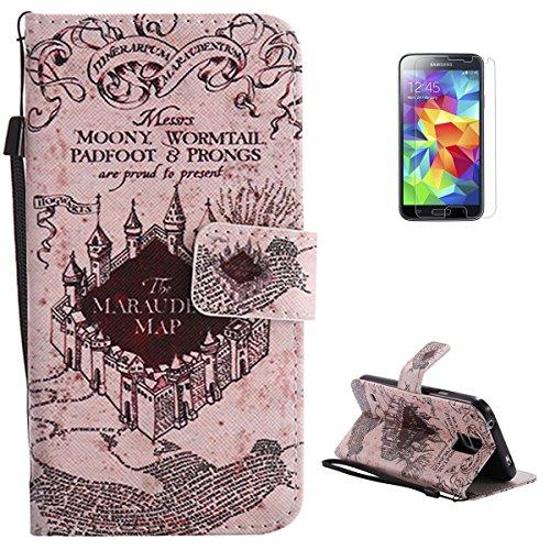 KaseHom for Samsung Galaxy S5 Buntes Leder Hülle Premium Folio Magnetischer Flip Leder Brieftasche (Retro Magic Castle) Muster Entwurf Federung Stoßstange Schützend Haut Abdeckung Halfter (Harry Potter S5 Fall)