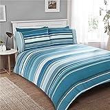 Gestreift Türkis 100% Gebürstete Baumwolle Breites Doppelbett (Einfache Creme Passendes Leintuch - 180 X 200CM + 25) 4 Teile Bettwäsche Set
