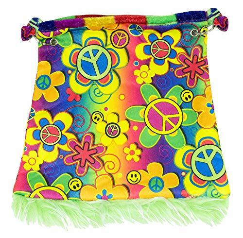 Accessoires Kostüm Handtasche - Hippie Handtasche Flower Power - Umhängetasche 70er Jahre Karneval Mottoparty Hippiekostüm