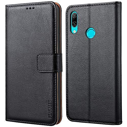 Peakally Huawei P Smart 2019 Hülle, Premium Leder Tasche Flip Wallet Case [Standfunktion] [Kartenfächern] PU-Leder Schutzhülle Brieftasche Handyhülle für Huawei P Smart 2019-Schwarz