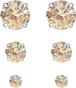 YOURDORA 3 Paia Semplice Orecchini a perno in Argento 925 con Cristalli da Swarovski Donna Gioielli set 3mm 5mm 7mm