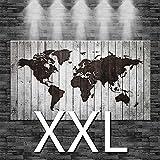 Premiumsticker24 Kunstdruck Leinwandbild Weltkarte eingebrannt in weißes Holz (Optik) | Wohnzimmer Bild Canvas Deko 110x60cm, Größe XXL