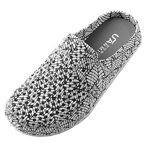 VWU Unisex Herren Damen Sommer Outdoor Breathable Mesh Backless Schuhe Strand Aqua Clogs Pantoletten Anti Rutsch Slip On Hausschuhe Beach Sandals Schwarz Weiß