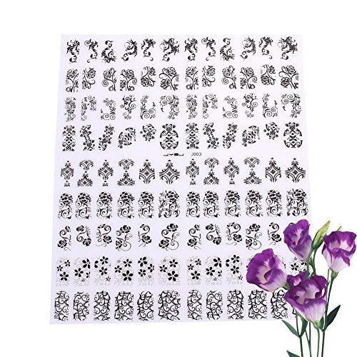 La Cabina 108pcs 3D DIY Stickers Ongles Fleurs Nail Art Autocollants Manucure Conseils Déco pour Ongle
