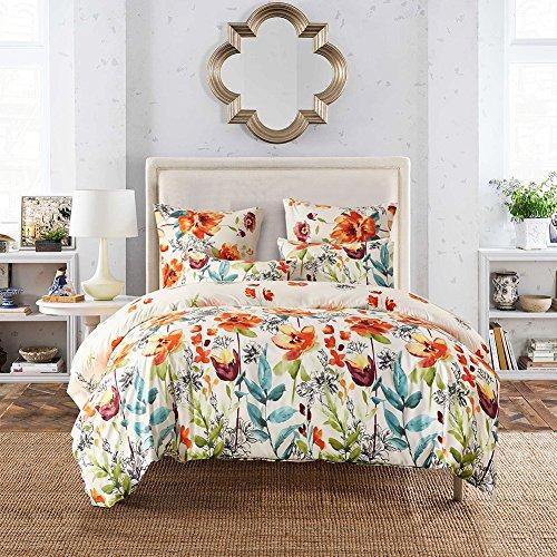 FORCHEER leicht Mikrofaser Bettbezug Set, Floral Print Muster Tagesdecke Überwurf Set, 3 teilig Oversize Quilt Set mit Kissen/Bezügen, Microfaser, Pattern #78390, Doppelbett (Komplett Bett-set Microfaser)