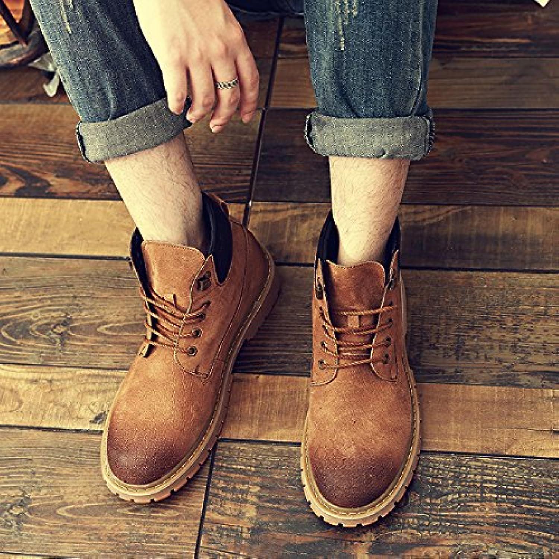 HL-PYL-Botas, Martin botas, zapatos de altura hombres, lijado y lijado sobre antiguos y Ocio amarillo,44,amarillo  -