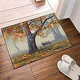 Aliyz Aquarell-Foggy Forest Decor Bank unter dem Herbstbaum Badteppich, Rutschfeste Fußmatte Fußmatte Bodeneingänge drinnen drinnen vorne Tür Matte Kinder Badteppich 39,9 x 59,9 cm, Badezimmerzubehör
