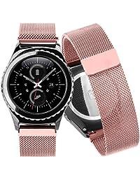 happytop 20mm banda de reloj de acero inoxidable correa de reloj pulsera correa de muñeca de repuesto para Samsung Gear S2Classic SM-R732, hombre, oro rosa, S